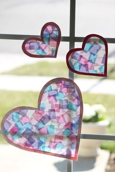stained glass tissue hearts
