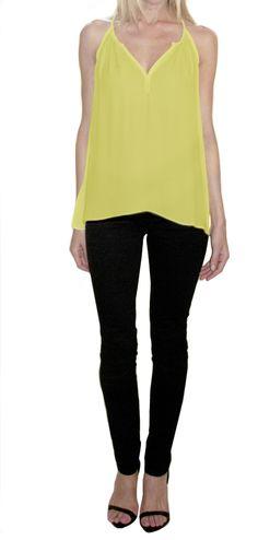 Drape side silk halter in Citron — Chelsea Flower Clothing  www.chelseaflowerclothing.com