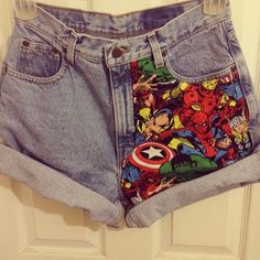 jean, hero, clothes refashion, circl, comic books, diy clothes, denim shorts, shirt, the avengers