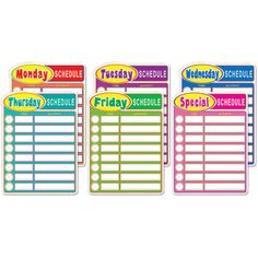 #BulletinBoards: Daily #Schedule  Six BIG daily charts where you can post your daily/weekly schedule to keep students on tack and help you organize your week! Each chart features 8 time slots on which you can record both analog and digital times plus the activity do be done at that time. Perfect for your classroom door! $9.99