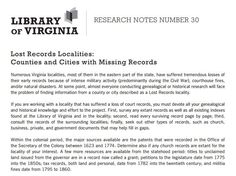 Counties and Cities in Virginia with lost records - Library of Virginia (PDF)
