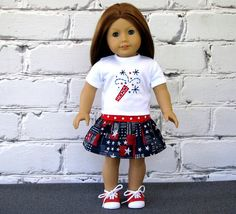 4th of July Fireworks Tee Shirt Twirl Skirt  by SewFunDollClothes, $24.00