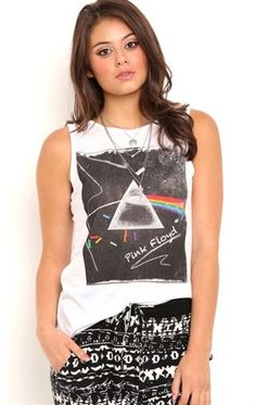 Deb Shops Deb Shops Sleeveless Band Tank with Pink Floyd Screen $10.00
