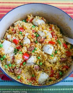 One Pot Chicken Chorizo Paella © Jeanette's Healthy Living #onepot #chicken #recipe #healthyeating #cleaning #glutenfree #rice