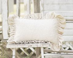 Shown: Taupe Velvet Pillow, $23.00 + Ship   ~  This is a no longer available Rachel Ashwell Simply Shabby Chic pillow ~ It is made of beautiful light taupe velvet ruffles and a lace front ~ It measures 11 x 17 not including the 3 inch ruffles ~ The insert is removable ~   http://www.katiesrosecottagedesigns.com  (03.09.13)