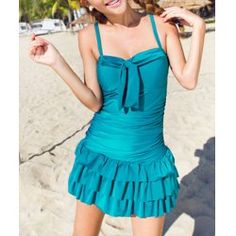 Solid Color Bow Tie Spandex Pleated Spaghetti Strap Sweet Style Women's Swimwear