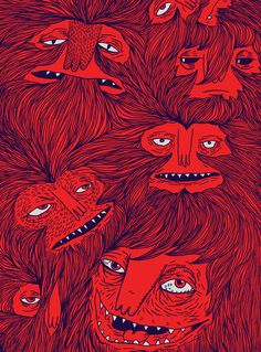 vans, ilustración, red monster, art prints, hairwolv, monsters, van weter, joe van