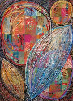 Abstract art quilt by Sue Benner