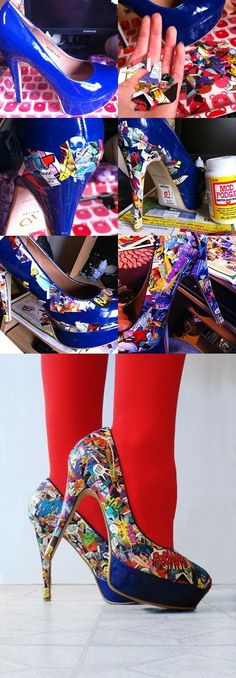 Comic books shoes, can be done with any pretty cut outs from magazines, and mod Podge. Plain shoes to pretty unique!