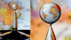 Via @Fascinating Pics: This is a high-speed photograph of a water drop refraction. Big World in a little drop