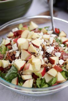 Bacon, Apple Raspberry Vinaigrette Salad (You had me at Bacon.)