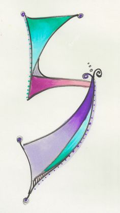 Dabbling in whimsical Hebrew letters. Hebrew Lamed by Allison Carter. I think this is my favorite