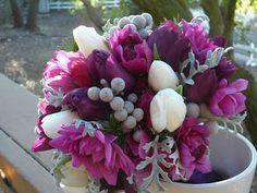 Plum, Fuschia and Silver Wedding Flowers