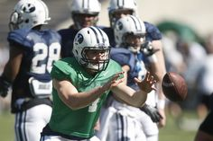 Brigham Young Cougars quarterback Taysom Hill (4) during the spring scrimmage at LaVell Edwards Stadium Saturday March 30, 2013.