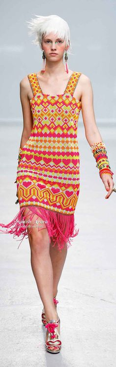 Manish Arora Spring Summer 2014 ~ the jewelry and dress (with the exception of the chain fringe) are comprised of beads