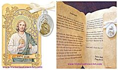$33 St. Jude Thaddeus Catholic Gold Embossed Prayer Card Folder with Patron Saint Charm   The back of the card has a beautiful Novena prayer to St. Jude, Inside has the saints story. Patronage: lost causes, desperate situations, hospitals  Gold tone & Silver Oxidized Metal Medal with off-white Ribbon. Medal size: 1 inch x 3/4 inch Folder Size (folded):2.50 inches Wide and 4.125 inches high.