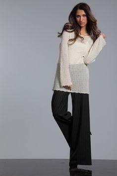wide leg, leg trouser, knit tunic