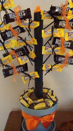 This Halloween Candy tree makes for a great center piece for those parties as well as in the office.
