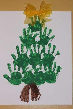 hand and footprint rudolph | Handprint/Footprint Christmas Tree- footprint is 4 mo old baby brother ...