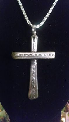 Vintage Silverplated Spoon Cross Pendant/ Upcycled Silverware Jewelry