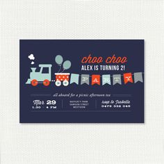 Printable Train Birthday Party Invitation - Choo choo for 2nd, 3rd, 4th, 5th boys birthday - Navy Red, Yellow Gray or Vintage Brown Parti Invit, Birthday Party Invitations, Birthday Parties, Train Invitations, Train Birthday, 2Nd Birthday Boy Train, Boy Birthday, Birthday Invitations For Boys, 2Nd Birthday Boy Party Ideas