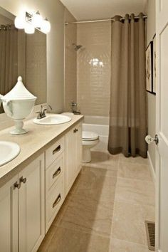Bathroom on pinterest shower curtains bathtubs and tubs for Bathroom designs neutral colors