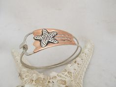 Starfish cuff - 100% hand fabricated mixed metal bracelet in sterling silver and copper by JoDeneMoneuseJewelry, $105.00