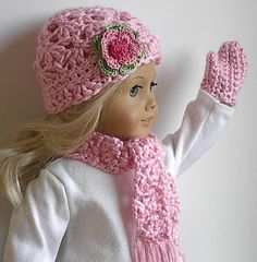 Scarf, hat, mitten set for american girl dolls http://www.etsy.com/listing/160080585/american-girl-doll-clothes-crocheted-hat