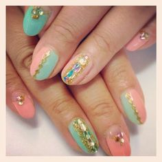 Bi-colored nail design with salmon pink and light green for spring