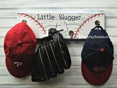 Baseball Wall Hook Hanger Little Slugger Team Color Furniture Sports Decor Ball Team Rustic Decor Red White Blue