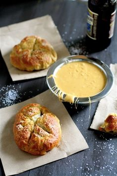 pretzel rolls with beer cheese sauce...perfect for fall football games!