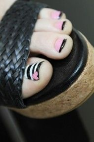 Toe Nail Art- this would be cute with solid pink or white on the rest of the toes instead of the black tips.