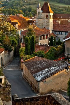 Figeac, France - town along the Way of St. James - a hiking medieval pilgrimage trail.