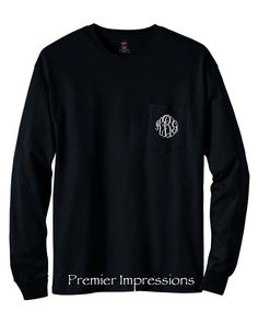 Monogrammed Long Sleeve Pocket TSHIRT with by PremierImpressions, $23.99
