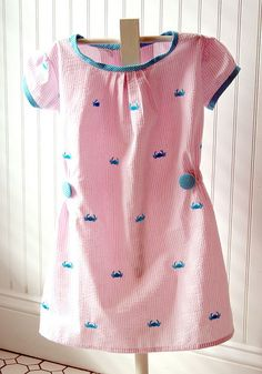 Embroidered crab seersucker dress -  love the elastic sides and button!