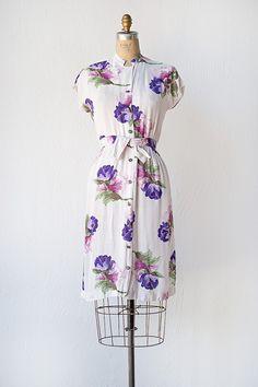 vintage 1940s white rayon dress