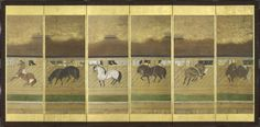 A pair of six-fold paper screens painted in ink and colour on a buff ground with twelve horses in a stable. The stable roof, probably made of cedar bark similar to that still used today in Shinto temples, is hidden behind misty sunago (sprinkled gold) clouds. Each horse is tethered in a separate stall and is depicted in an individual manner either through its pose or markings. (R) Unknown (17th century Edo period)