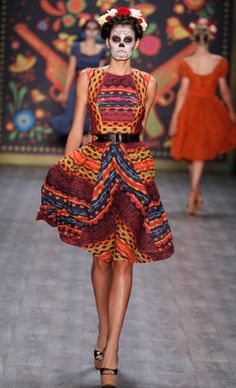 Lena Hoschek 50's & Mexican inspired fashion - love the dress... The makeup... Not so much.