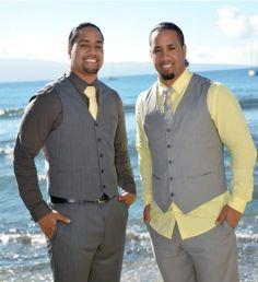 Jon & Josh Fatu (The Usos) at Jon's January 2014 wedding in Hawaii