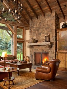 cabin, living rooms, ceiling beams, guest houses, homes, live room, stone fireplaces, design, river