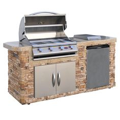 Turn your backyard into a state-of-the-art outdoor kitchen with this Cal Flame BBQ Island. It features a four-burner stainless steel gas grill and a stainless steel refrigerator. Click through to read more about this stunning outdoor kitchen-- a dream for anyone who loves grilling. grill island, stone grill