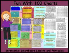 Fun With 100 Charts:  Interactive Smartboard Lessons and Printables from Teaching The Smart Way on TeachersNotebook.com -  (30 pages)  - Fun With 100 Charts:  Interactive Smartboard Lessons and Printables