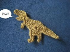 TRex Crochet Applique:  Free pattern.  Thought this could be something cute to sew onto a child's hat...Would be fun on a hat that was crocheted to look like the sky on top and grass on the bottom.  fun fun!