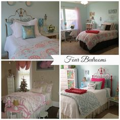The same furniture pieces are updated with paint and fabric as a little girl's taste in bedroom decor changes over time.