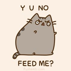 Pusheen the cat - why you no feed me?  Ahh haha, that face...