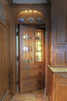 Kitchen decor, Kitchen designs, Kitchen decorating ideas - Kitchen With a Secret. Nice way to hide a pantry!