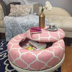 """I bet you never would have guessed that this cute storage ottoman was once a tire? Right? I had a lot of fun figuring out and completing this project! Thanks @discount_tire for the fun challenge. <a class=""""pintag searchlink"""" data-query=""""%23OldTiresTurnNew"""" data-type=""""hashtag"""" href=""""/search/?q=%23OldTiresTurnNew&rs=hashtag"""" rel=""""nofollow"""" title=""""#OldTiresTurnNew search Pinterest"""">#OldTiresTurnNew</a>"""