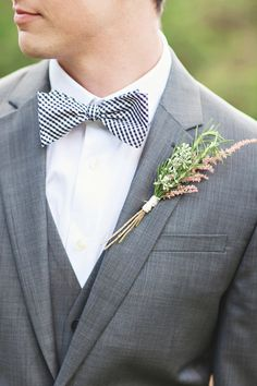 grey #bowtie | Photography: Paperlily Photography - www.paperlilyphotography.com  Read More: http://www.stylemepretty.com/2014/01/20/oak-hill-the-martha-berry-museum-wedding/