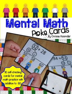 Mental Math Poke Cards: Addition to 100 from Chrissie Rissmiller on TeachersNotebook.com -  (21 pages)  - 30 self-checking poke cards for practicing mental math addition problems to 100