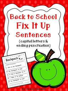 Back to School: Fix It Up Sentences (capital letters and ending punctuation)  $